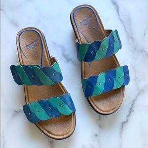 Dansko Teal Blue Embellished Leather Strap Sandals
